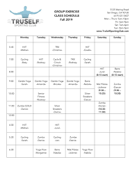 Class Schedule Truselfsportingclub Com