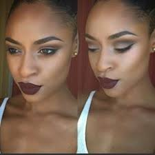 black with burgundy lipstick makeup inspiration black womens inspiration