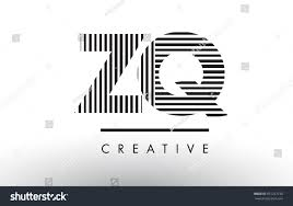 ZQ Z Q Black and White Letter Logo Design with Vertical and Horizontal  Lines.
