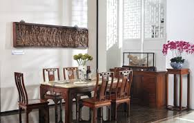 Chinese Dining Room Table Chinese Dining Room Wood Furniture And Pillars Rendering