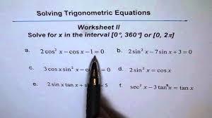 trigonometric equations worksheet 2