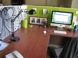 office cubicle decoration ideas. Light Green Cubicle Decorations Ideas With Wooden Computer Desk Plus Black Office Chair Viewing Gallery Decoration