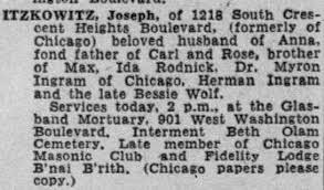 Joseph Itzkowitz obituary, 1949 - Newspapers.com