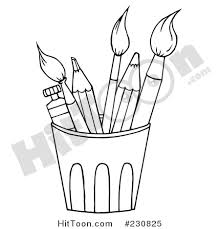 Pencil Clipart 230825 Coloring Page Outline Of A Cup Of Pencils
