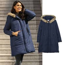 quilted jacket with faux fur collar dark blue coats pt65820