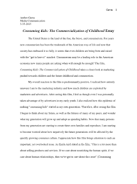 media consuming kids essay advertising self esteem