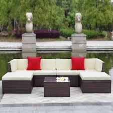 ikayaa 7pcs outdoor patio garden rattan wicker sectional sofa set brown