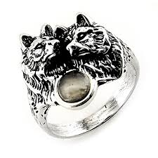 sterling silver wolf ring with