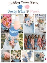 peach wedding colors. Dusty Blue and Peach Wedding Colors Palette Robes by silkandmore