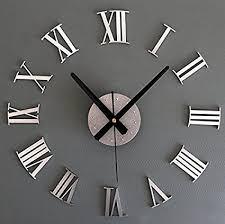 <b>Metal Texture</b> 3D <b>DIY</b> Roman Numerals <b>Wall Clock</b> Creative Mirror ...