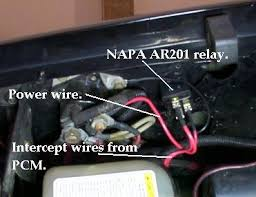 home this is done by using a relay normally closed contacts the one i used is a standard automotive relay take a wire