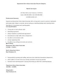 Resume For Sale Resume Of Sales Associate Department Store Sales