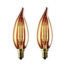 60w equivalent warm white ca10 amber lens vintage candelabra flame tip dimmable led light bulb