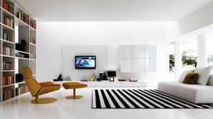 modern minimalist bedroom black fabric area rugs brown leather sofa white pattern comfy sofa white red hanging