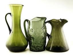 green glass pitcher depression creamer milk ikea with lid green glass pitcher set with lid forest depression