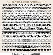 Border Patterns Adorable Ornamental Border Frame Line Vintage Patterns 48 Vector Set Of