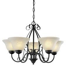 5 light matte black chandelier