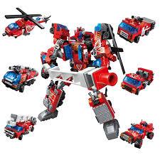 Đồ chơi giáo dục - Đồ chơi xếp hình lắp rap - Bộ Lego xếp hình đồ chơi lắp  ráp mô hình siêu nhân robot từ khủng long đỏ trí tuệ 6
