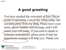 Business Voice Message Template Short Voicemail Greetings Examples