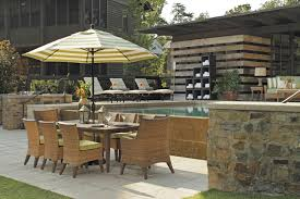 Outdoor dining set with patio umbrella wicker chairs in N dura resin