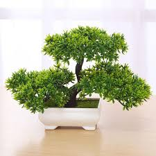 office bonsai. Bonsai Tree In Square Pot - Artificial Plant Decoration For Office/Home 18cm Office