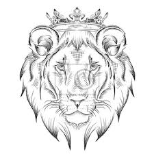 Fototapeta Etnické Ruční Kreslení Hlava Lva Nosí Korunu Totem Tetování