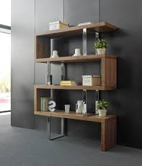 contemporary shelving unit modern glass and walnut bookcase