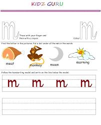 Kindergarten Worksheets: Printable Handwriting Worksheet - Alphabet m