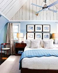 blue walls brown furniture. Blue Bedroom Walls Roof Sloping Brown Furniture A