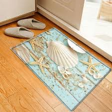 shell starfish deck pattern anti skid water absorption area rug