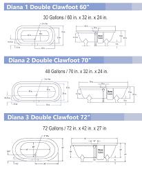 view detailed diana clawfoot bathtub dimensions