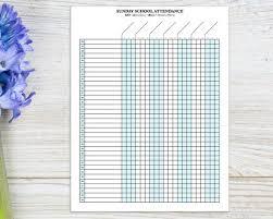 Sunday School Attendance Sheet With Birthday Tracker Printable