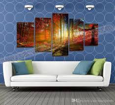 unframed 5 panel forest painting canvas wall art picture home decoration living room canvas prints modern