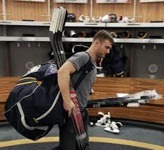 buffalo sabres center cody hodgson exits the buffalo sabres 39 locker room with his