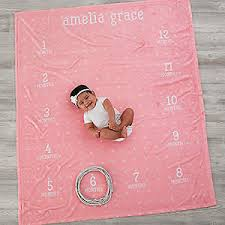 monthly milestone personalized baby fleece blanket