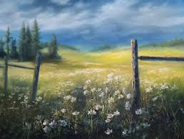 summer daisies country acrylic landscape painting demo summer daydream part 2
