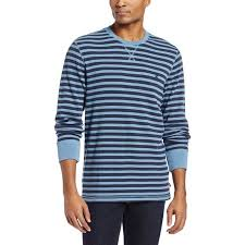 Izod Mens Thermal Stripe Waffle Crew Neck Long Sleeve Shirt