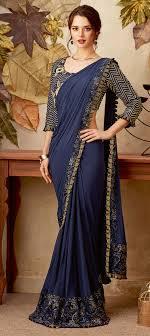 Designer Stitched Saree Lycra Designer Readymade Saree In Blue With Embroidered Work