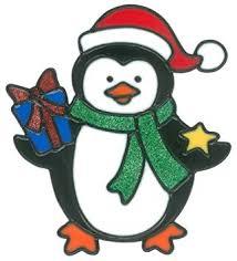 Magicgel Fensterbilder Weihnachten Pinguin Mit Geschenk 15 X 17 Cm Fensterdeko Für Das Basteln Mit Kindern