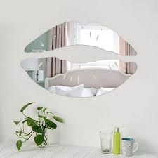 silver lips mirror 3d wall art decal stickers for livingroom home