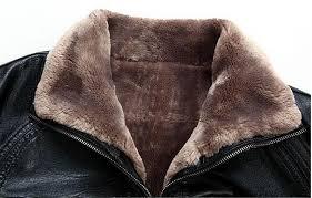 winter jacket men pu leather fur coat fleece sheepskin fashion warm full pelt wool liner suede
