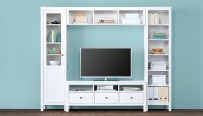 shelving furniture living room. This Combination Of A White Cabinet With Glass Doors, TV Bench, Wall Bridging Shelf Shelving Furniture Living Room