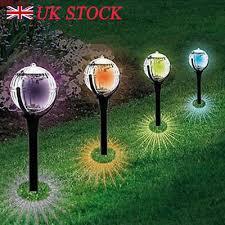 modern large solar powered colour changing globe ball garden lights post lights