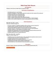 wells fargo teller jobs wells fargo teller resume sample best format