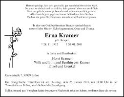 Traueranzeigen von Erna Kramer   WAZ.Trauer.de