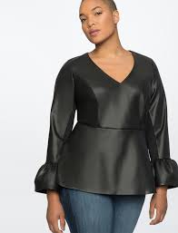 faux leather top with flare sleeves