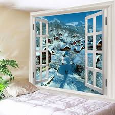 window snow village print tapestry wall hanging art white w59 inch l51 inch