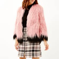 lyst river island pink faux fur trim puffer jacket in coats jackets