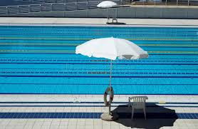 olympic swimming pool lanes. Download Outdoor Olympic Swimming Pool With Lanes For Races And 2 Umbrellas Per Side The