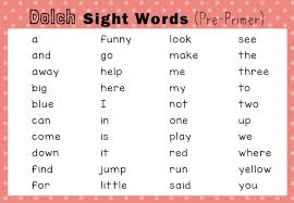Pre Primer Dolch Dolch Sight Words Activities Pre Primer Pre K Level Little Dots